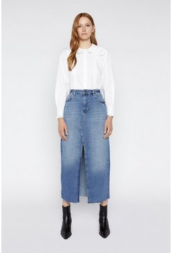 Mid wash Split Front Denim Skirt