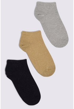 Multi 3 Pack Glitter Socks