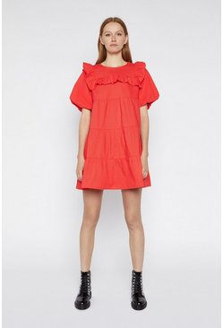Light red Ruffle Bib Mini Dress