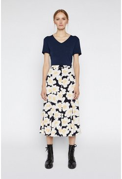 Blue Floral Printed Midi Skirt