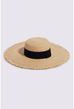 Tan Frayed Edge Sunhat