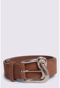 Tan Square Buckle Jeans Belt