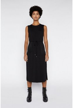 Black Utility Drawstring Midi Dress