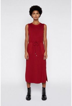 Dark red Utility Drawstring Midi Dress