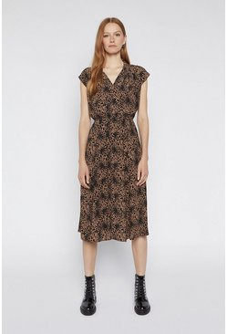 Tan Leopard Print Midi Shirt Dress