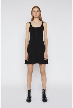 Black Popper Flippy Cami Dress