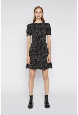 Black Spot Lace Trim Dress