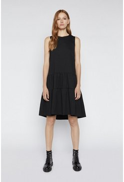Black Trapeze Tiered Dress