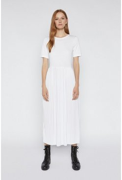 White Pleated T-shirt Midi Dress