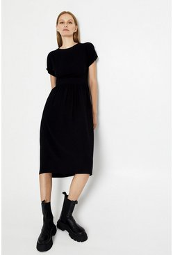 Black Open Back Button Detail Midi Dress