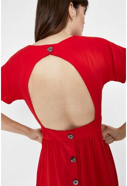 Red Open Back Button Detail Midi Dress