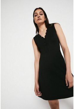 Black Scallop Sleeveless Ponte Dress