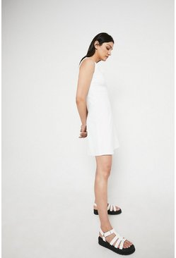 Ivory Scallop Sleeveless Ponte Dress