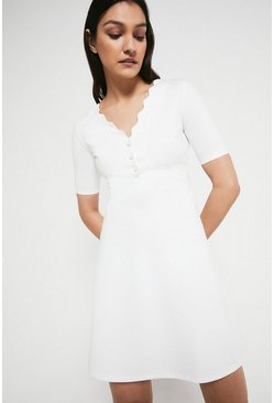 Ivory Scallop Short Sleeve Ponte Dress