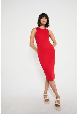 Red Rib Racer Bodycon Dress