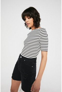 Black Organic Cotton Stripe Slash Neck Half Sleeve Top