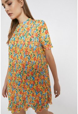 Yellow Floral Pleated Mini Dress With Short Sleeve