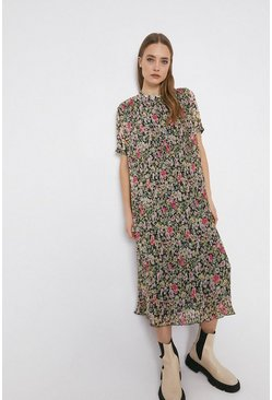 Black Floral Pleated Midi Dress With Short Sleeve
