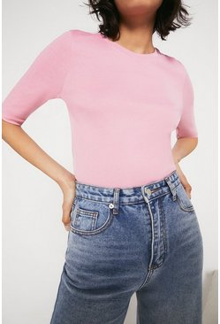 Pink Organic Crew Neck Half Sleeve Top
