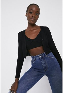 Black Ribbed Extreme Crop Bralette And Cardigan