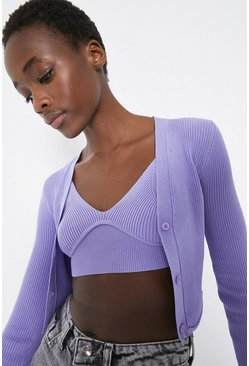 Lilac Ribbed Extreme Crop Bralette And Cardigan
