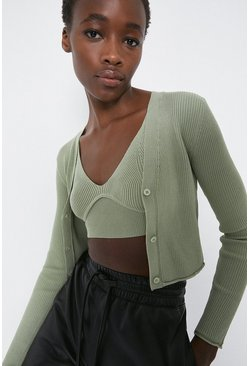 Sage Ribbed Extreme Crop Bralette And Cardigan