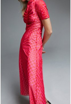 Bright pink Ruched Front Printed Dress