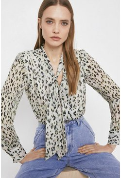White Tie Neck Blouse In Coloured Animal