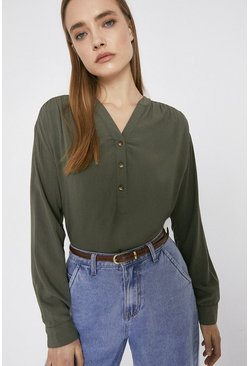 Khaki Overhead Long Sleeve Blouse