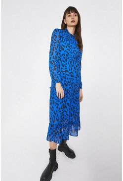 Cobalt Tiered Midaxi Dress In Large Leopard Print