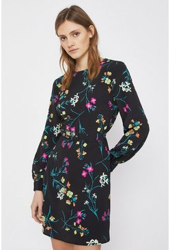 Black Floral Print Belted Flippy Dress