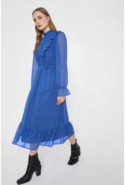 Blue Spot Print Ruffle Midi Dress