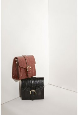 Black Croc Buckle Detail Cross Body Bag