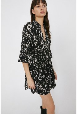 Black Tiered Dress In Smudgy Animal Print
