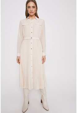 Cream Pleated Midi Shirt Dress