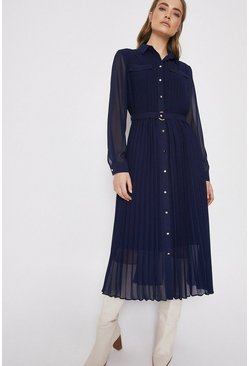 Navy Pleated Midi Shirt Dress