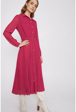 Pink Pleated Midi Shirt Dress