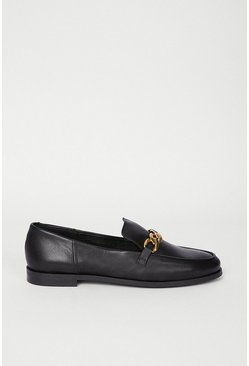 Black Leather Chain Detail Loafer