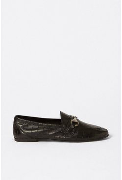 Black Leather Snaffle Detail Croc Loafer