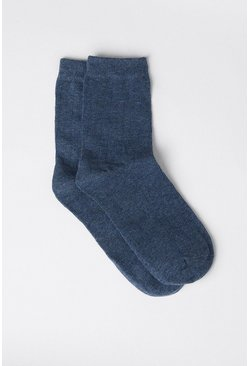Blue Soft Wide Ribbed Socks