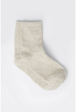 Cream Soft Wide Ribbed Socks