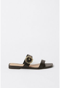 Black Buckle Detail Sandal