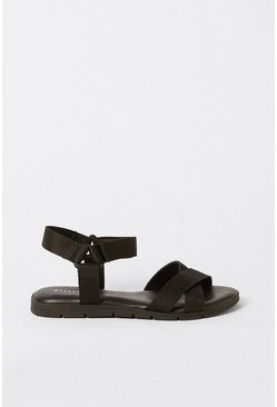 Black Fabric Sporty Sandal