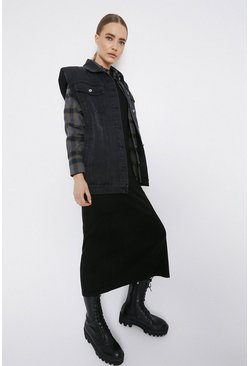 Black Oversized Sleeveless Longline Denim Jacket