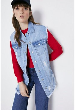 Light wash Sleeveless Denim Longline Jacket
