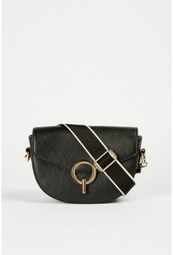 Black Half Moon Metalwear Detail Bag