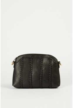 Black Braided Detail Cross Body Bag