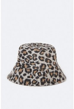 Brown Animal Print Bucket Hat