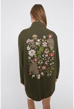 Khaki Embroidered Cotton Utility Jacket