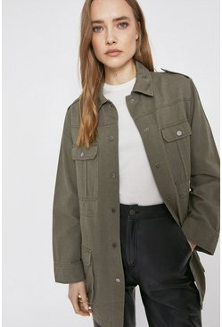 Khaki Cotton Drawcord Utility Jacket